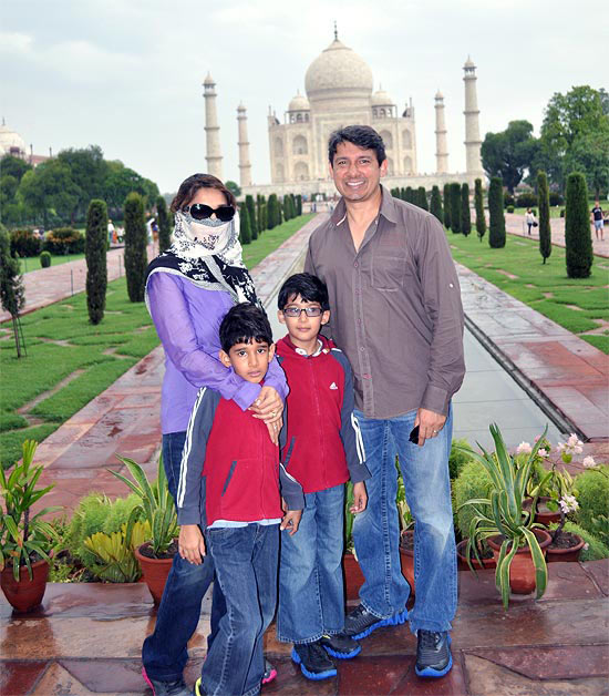 Madhuri Dixit with husband Dr Sriram Nene and sons at The Taj.