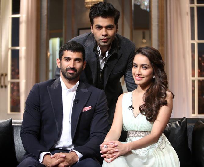 Aditya Roy Kapur, Karan Johar, Shraddha Kapoor on Koffee with Karan