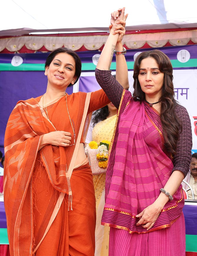 Juhi Chawla and Madhuri Dixit in Gulaab Gang