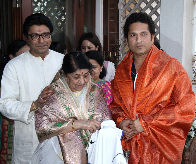 Raj Thackeray, Lata Mangeshkar and Sachin Tendulkar