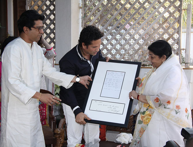 Raj Thackeray, Sachin Tendulkar and Lata Mangeshkar