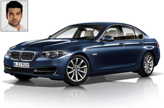 The BMW 5 Series. Inset: Karan Kundra
