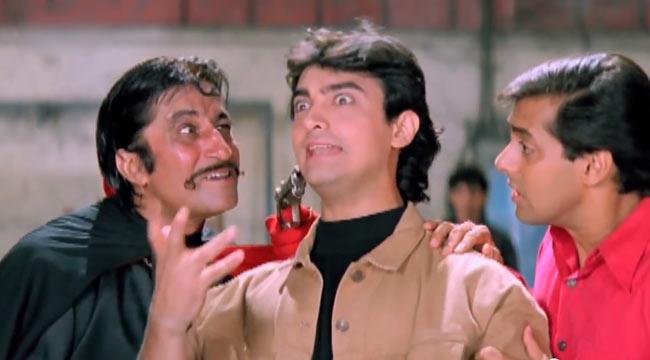 Shakti Kapoor, Aamir and Salman Khan in Andaz Apna Apna