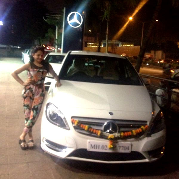 Giaa Manek with her Mercedes Benz B-Class