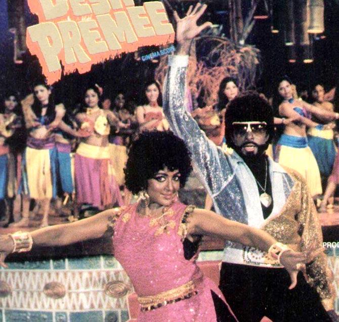 Hema Malini and Amitabh Bachchan in Desh Premee