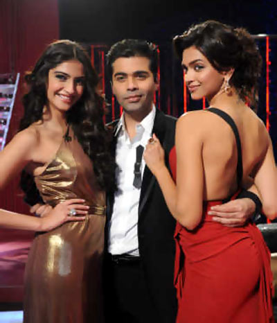 Sonam Kapoor, Karan Johar and Deepika Padukone on Koffee With Karan