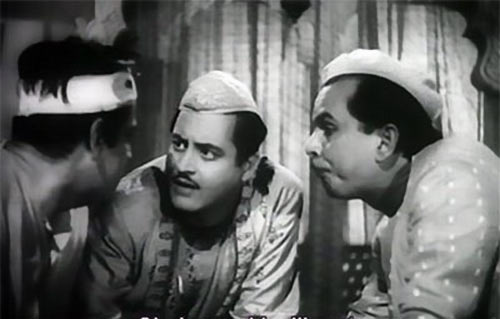 Rahman, Guru Dutt, Johnny Walker in Chaudhvin Ka Chand