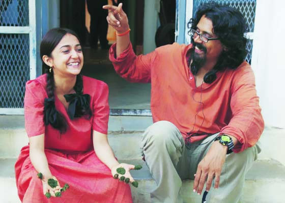 Monali Thakur and Nagesh Kukunoor while shooting Lakshmi