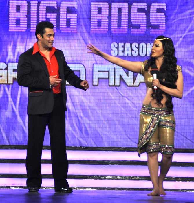Salman and Rakhi Sawant on Bigg Boss
