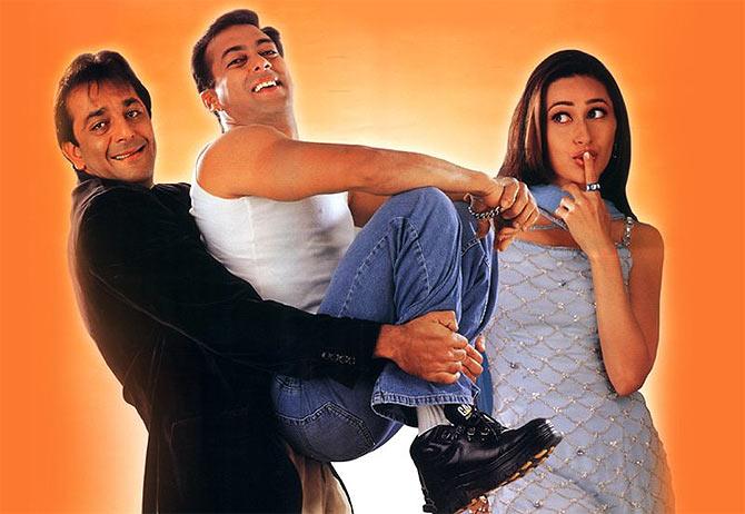 Sanjay Dutt, Salman Khan and Karisma Kapoor in Chal Mere Bhai