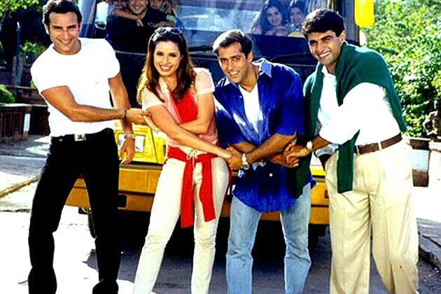 Saif Ali Khan, Neelam, Salman Khan, Mohnish Behl in Hum Saath Saath Hain