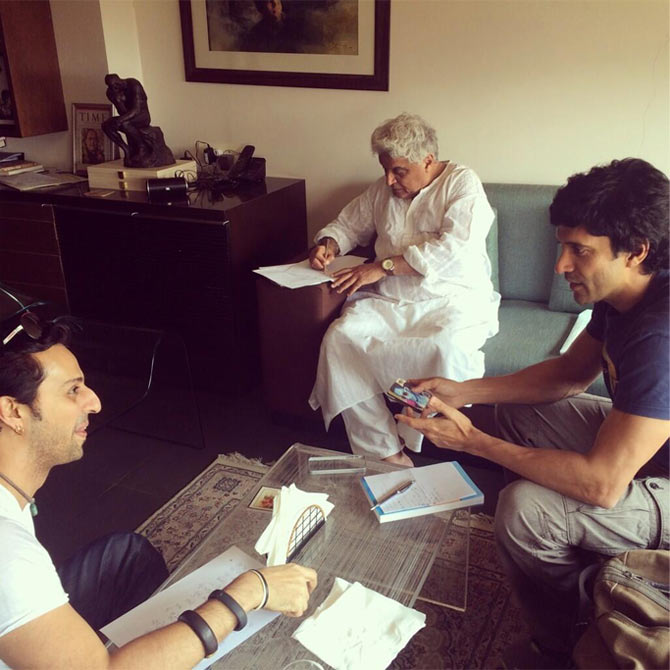 Farhan and Javed Akhtar with Salim Merchant