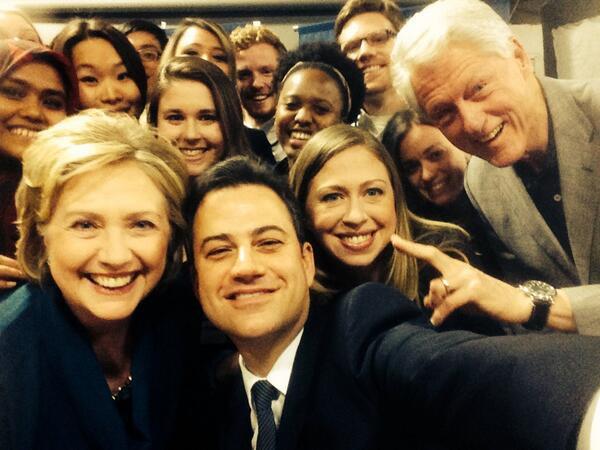 Hillary Clinton, Jimmy Kimmel, Chelsea Clinton and Bill Clinton