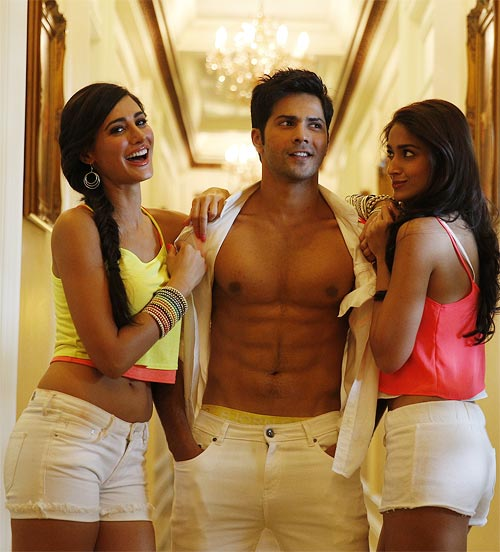 Nargis Fakhri, Varun Dhawan and Ileana D'Cruz in Main Tera Hero