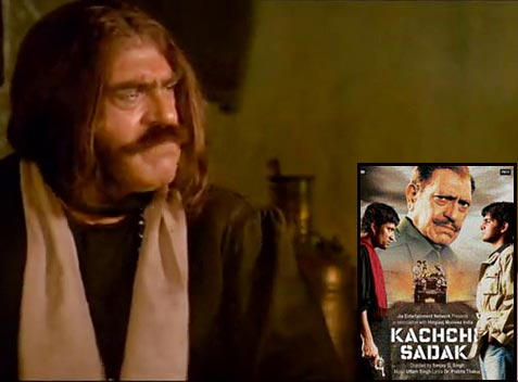 Amrish Puri in Kisna: The Poet. Inset: Movie poster of Kachchi Sadak