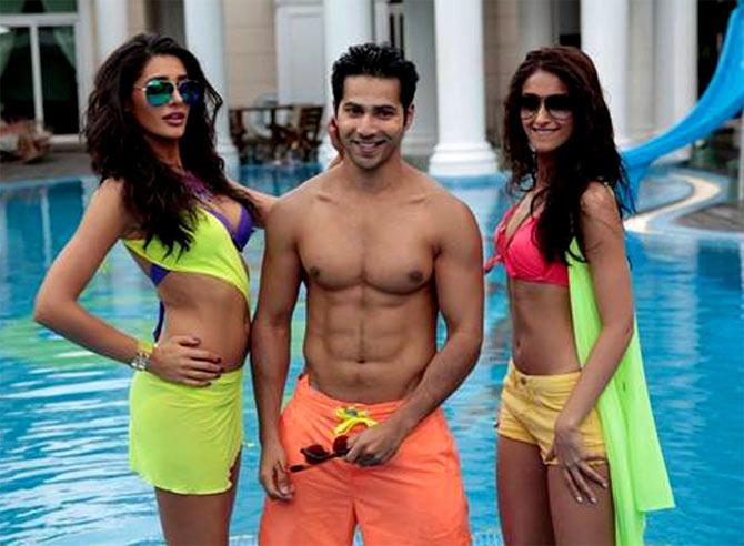 Nargis Fakhri, Varun Dhawan and Ileana Dcruz in Main Tera Hero