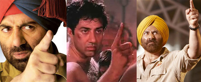 A collage of Sunny Deol photographs