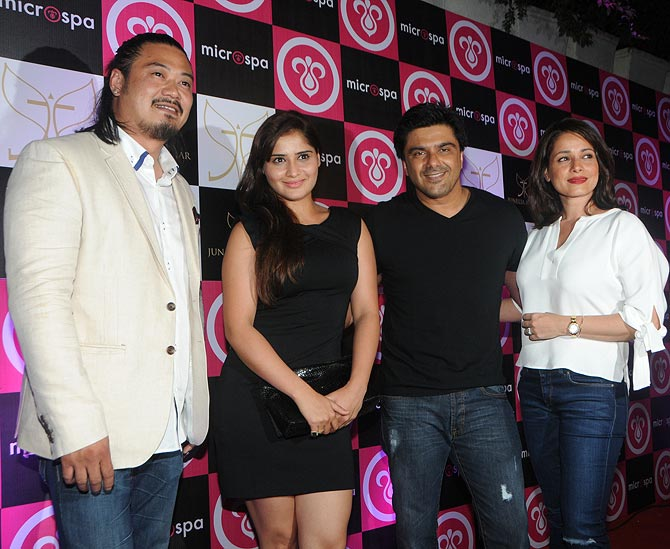 Winston Lee with Sameer Soni and Neelam Kothari