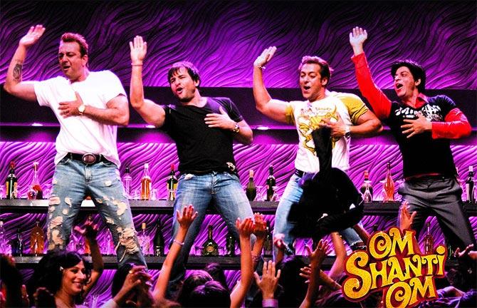 Sanjay Dutt, Saif, Salman and Shah Rukh Khan in Om Shanti Om