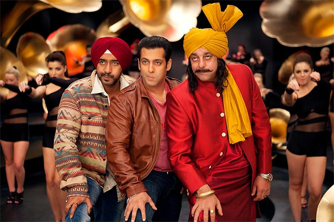 Ajay Devgn, Salman Khan and Sanjay Dutt in Son Of Sardaar