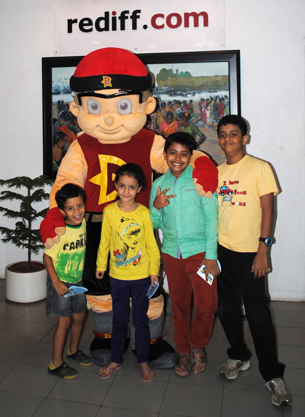 Mighty Raju with kids in Rediff office