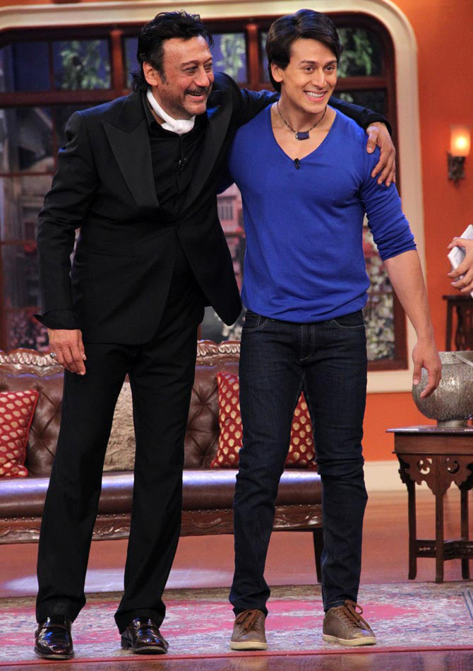 Jackie Shroff with Tiger on the sets of Comedy Nights With Kapil