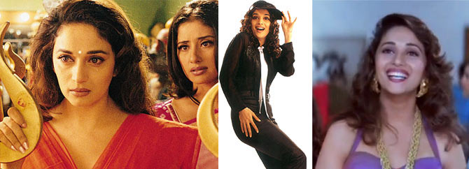 Madhuri Dixit and Manisha Koirala in Lajja, Madhuri in Pukar and Mohabbat