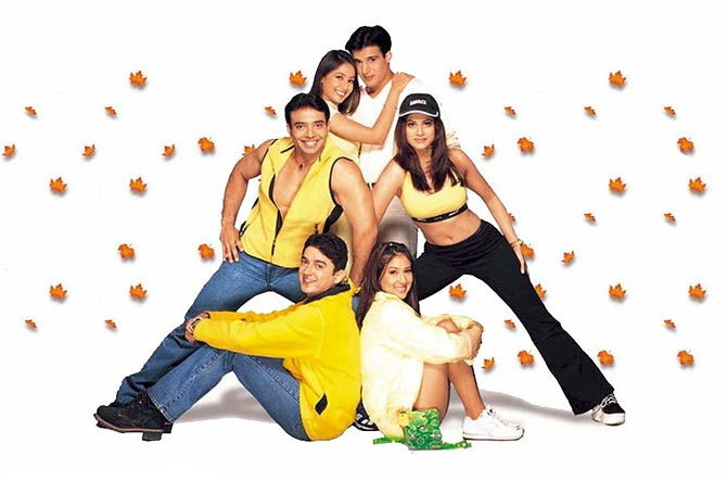 Clockwise from bottom: Jugal Hansraj, Uday Chopra, Preeti Jhangiani, Jimmy Shergill, Shamita Shetty and Kim Sharma in Mohabbatein