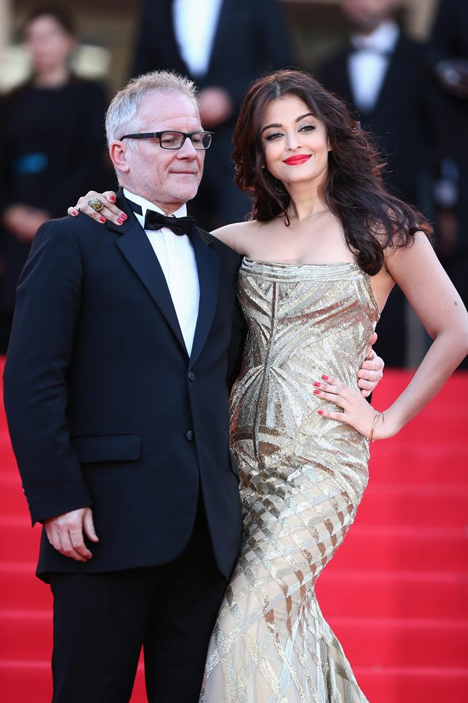 Thierry Fremaux and Aishwarya Rai Bachchan