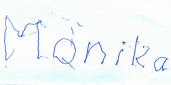 Monika's first written word with her new hand.