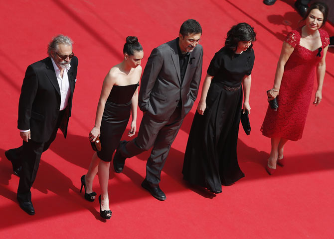 Cast members Haluk Bilginer, Melisa Sozen and Demet Akbag (extreme right) with director Nuri Bilge Ceylan and his wife Ebru attend the Winter Sleep premiere