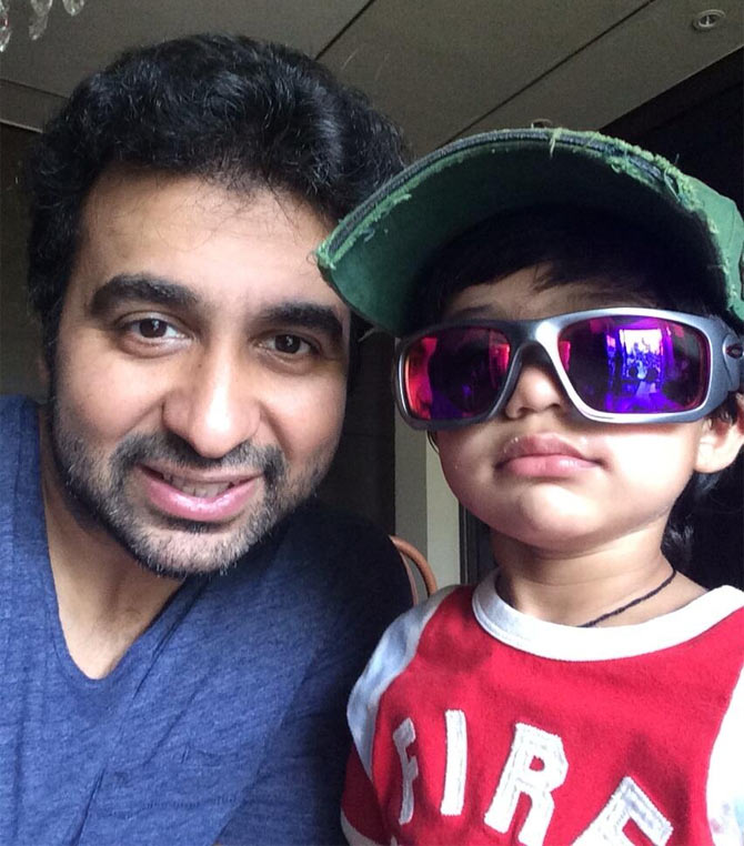Raj Kundra with son Viaan