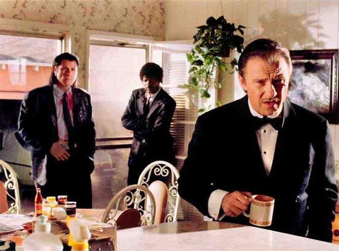 John Travolta, Samuel L Jackson and Harvey Kietel in Pulp Fiction