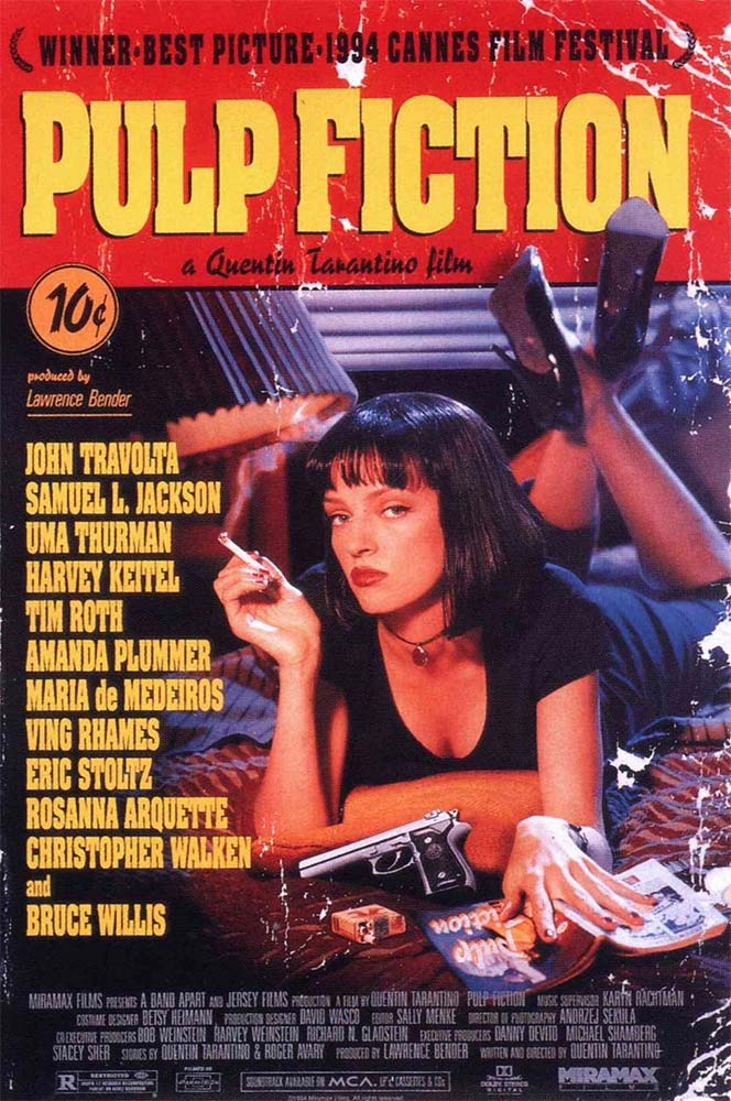 Uma Thurman on the poster of Pulp Fiction