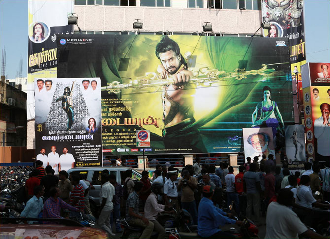 Crowds outside a theatre screening Kochadaiiyaan in Chennai