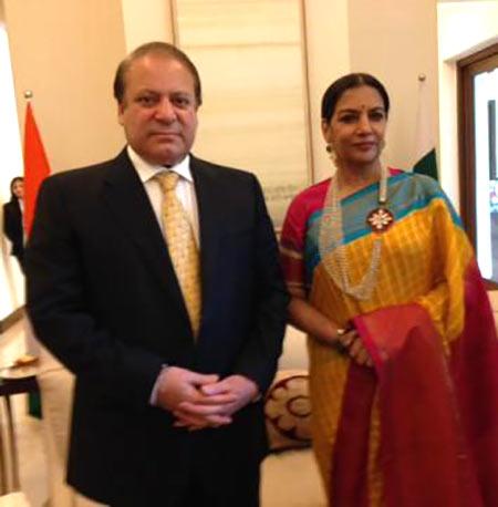 Shabana Azmi with Pakistani Prime Minister Nawaz Sharif
