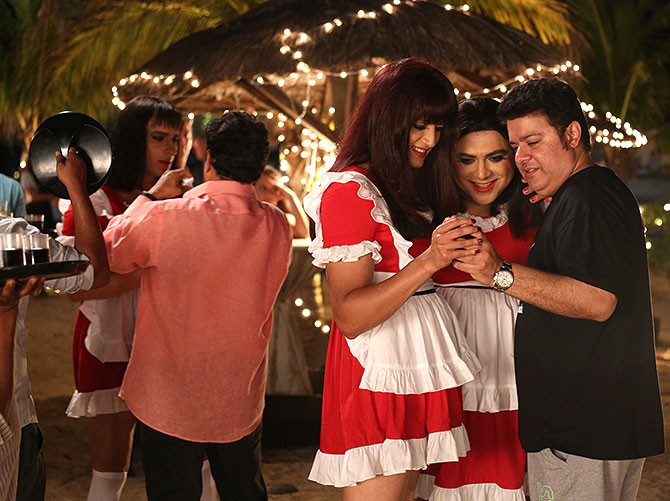 Ram Kapoor with Riteish Deshmukh and Sajid Khan