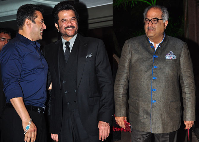 Salman Khan with his No Entry co-star Anil Kapoor and Boney Kapoor