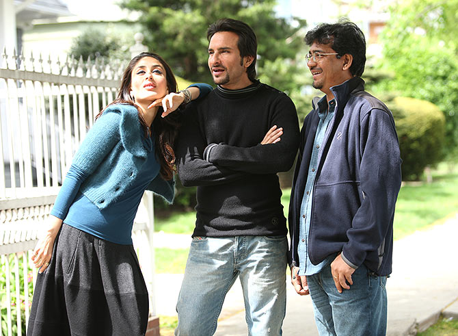 Kareena Kapoor, Saif Ali Khan and Rensil D'Silva on the sets of Kurbaan