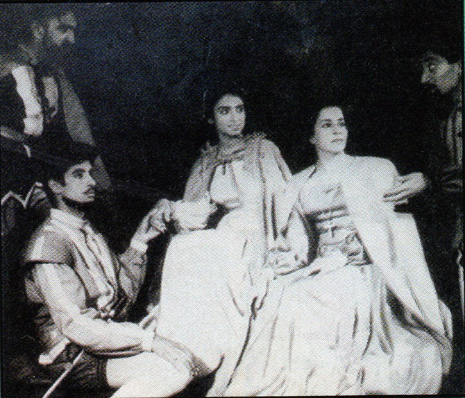 A picture of a play starring Amitabh Bachchan during his college days.