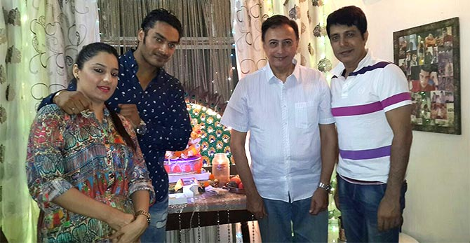 Avinesh Rekhi and his wife Raisa with Anang Desai and Bhuvan Chopra