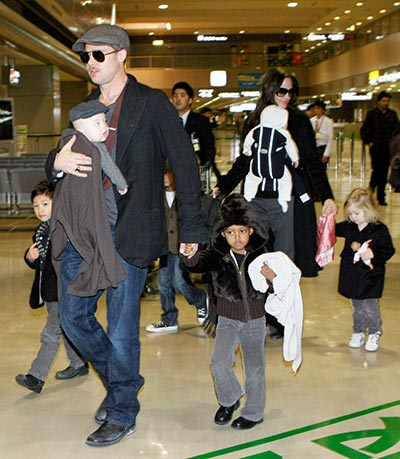Brad Pitt and Angelina Jolie with their kids