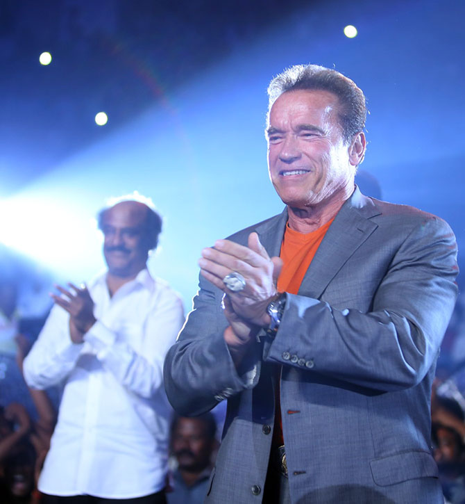 Current Bollywood News & Movies - Indian Movie Reviews, Hindi Music & Gossip - PIX: Rajinikanth and Arnold Schwarzenegger, in one frame!