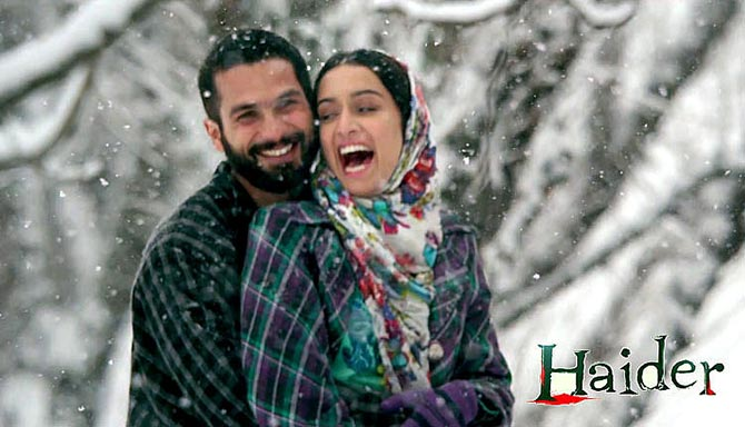 Shahid Kapoor and Shraddha Kapoor in Haider