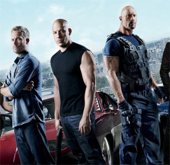 Paul Walker, Vin Diesel, Dwayne Johnson in Furious 7