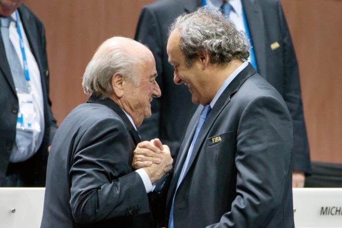 Rediff Sports - Cricket, Indian hockey, Tennis, Football, Chess, Golf - Ethics body suspends Blatter, Platini from world football