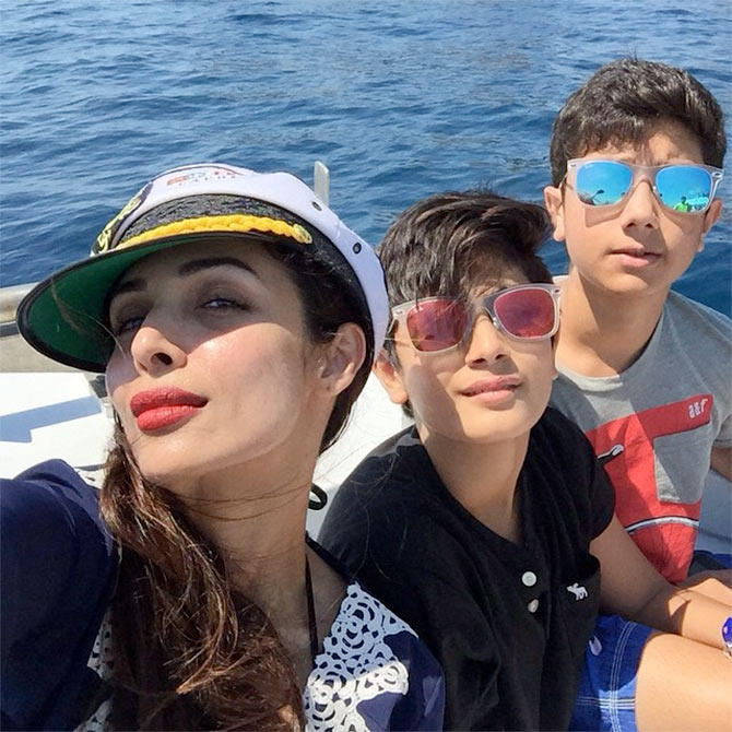Malaika Arora Khan, Arhaan Khan and Nirvaan Khan