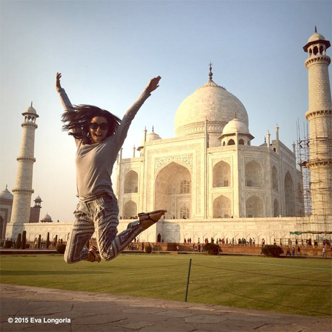 Hollywood actress Eva Longoria at the Taj Mahal. Photograph: Kind courtesy Eva Longoria/Instagram