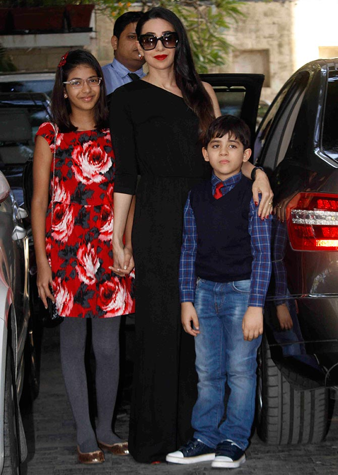 Karisma Kapoor with her children Samaira and Kiaan