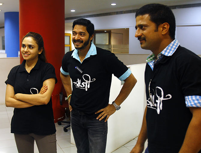 Amruta Khanvilkar, Shreyas Talpade and Jitendra Joshi at the Rediff office